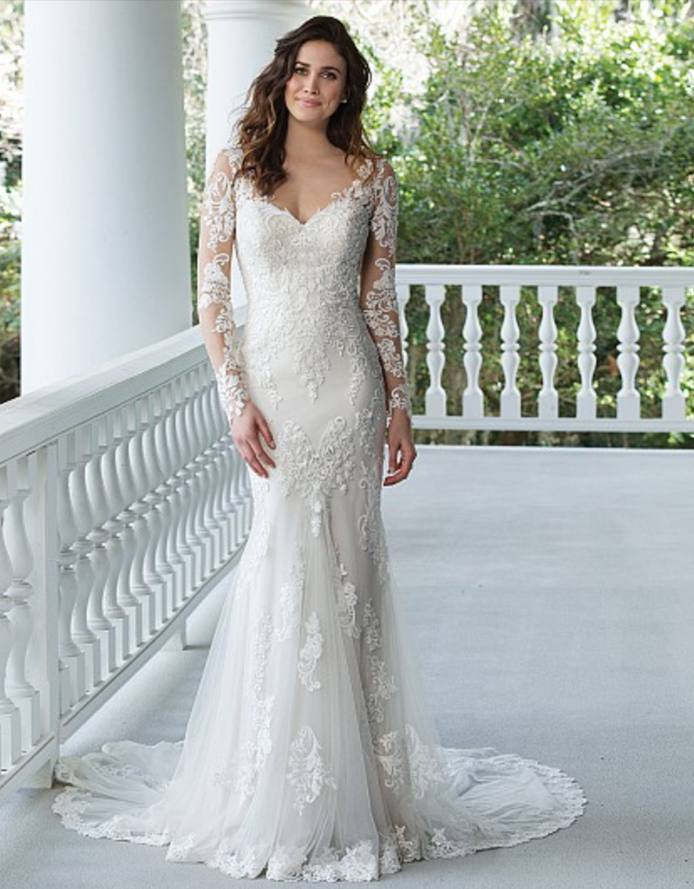 Fit and Flare Gown with Lace Illusion Sleeves and Back